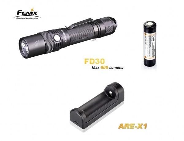 Fenix FD30 Cree XP-L HI LED Taschenlampe + Fenix ARB-L2M 18650 LiIon Akku + Fenix ARE-X1 Ladegerät