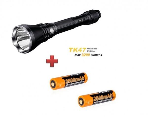 Fenix TK47UE LED Taschenlampe + 2 Fenix ARB-L18 2600 mAh 18650 Akkus
