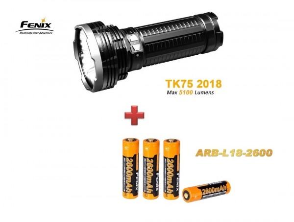 Fenix TK75 (2018) LED Taschenlampe + 4 Fenix ARB - L-18 2600 mAH Akkus