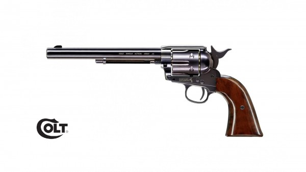 "Colt SAA .45-7.5"" Blued mit braunem Griff CO2 Revolver Diabolo"