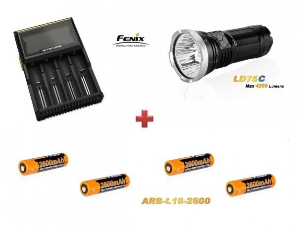 Fenix LD75C LED Taschenlampe rot+grün+blau + 4 Fenix ARB-L18 Akkus + NiteCore D4 Ladegerät