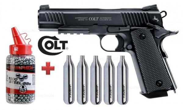 Colt M45 CQBP BLACK + 5 CO-2 Kapseln + 1500 BB´s