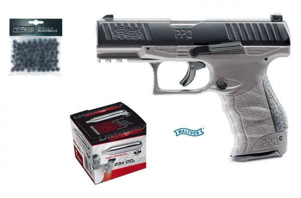 Walther PPQ M2 T4E RAM Kaliber.43 Tungsten Gray + 25 Stück Umarex CO2 Kapseln + 100 Rubberballs