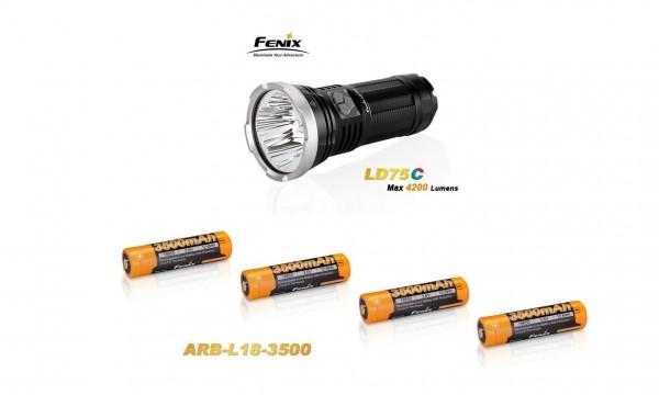 Fenix LD75C LED Taschenlampe rot+grün+blau + 4 Fenix ARB-L18 3500 mAh Akkus