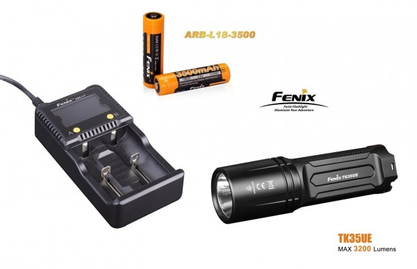 Fenix TK35UE (2018) LED Taschenlampe + 2 Fenix ARB-L-18 3500 mAH Akkus + Fenix ARE-A2 Ladegerät