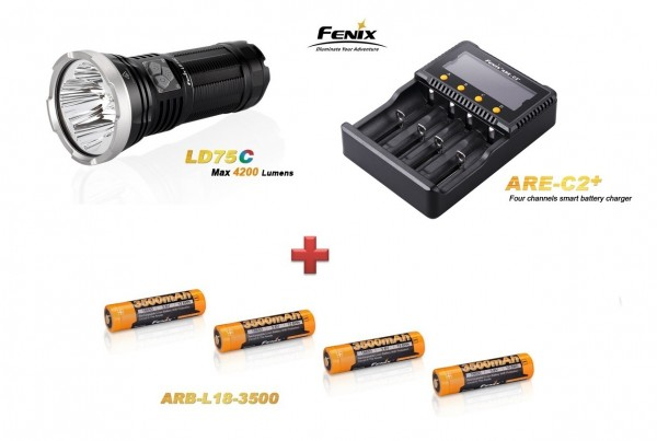 Fenix LD75C LED Taschenlampe rot+grün+blau + 4 Fenix ARB-L18 Akkus + Fenix ARE C2+ Ladegerät