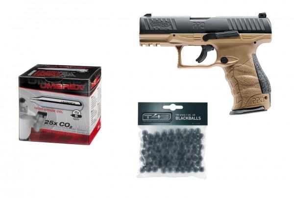 Walther PPQ M2 T4E FDE RAM Kaliber.43 + 25 Stück Umarex CO2 Kapseln + 100 Rubberballs
