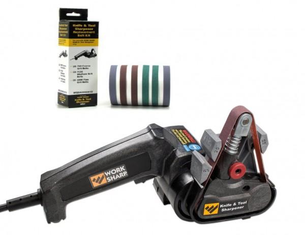 Set: Work Sharp Schärfgerät für Messer und Werkzeug + Work Sharp Schärfband-Sortiment 80/220/6000