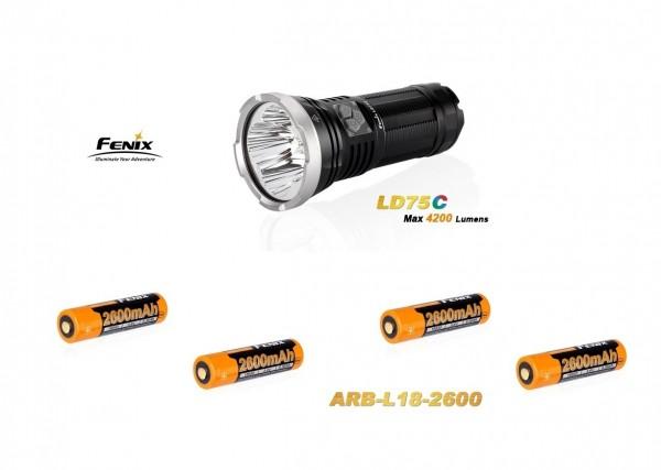 Fenix LD75C LED Taschenlampe rot+grün+blau + 4 Fenix ARB-L18 2600 mAh Akkus