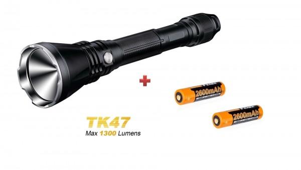 Fenix TK47 LED Taschenlampe + 2 Fenix ARB-L18 2600 mAh 18650 Akkus