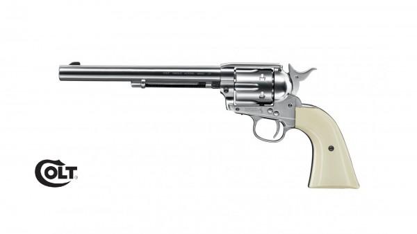 """Colt SAA .45-7.5"""" Nickel mit weißem Griff CO2 Revolver"""