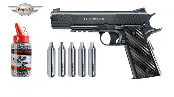 Legends 1911 CO2 Pistole Kal. 4,5 mm + 5 CO2 Kapseln + 1500 Umarex BB`s