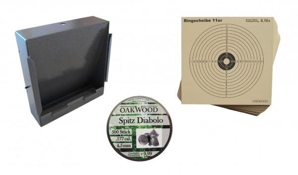 Kugelfangkasten + Zielscheiben für Luftdruckwaffen + OAK WOOD Spitz Diabolos