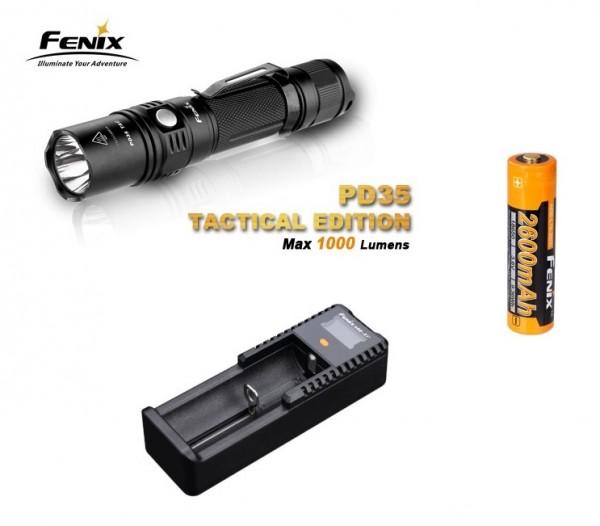 Fenix PD35 TAC LED Taschenlampe + Fenix ARB-L2 18650 LiIon Akku + ARE-X1+ Ladegerät