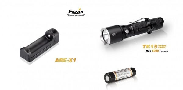 Fenix TK15UE LED Taschenlampe + 1 Fenix ARB-L2-2300mAh Akku + Fenix ARE-X1 Ladegerät