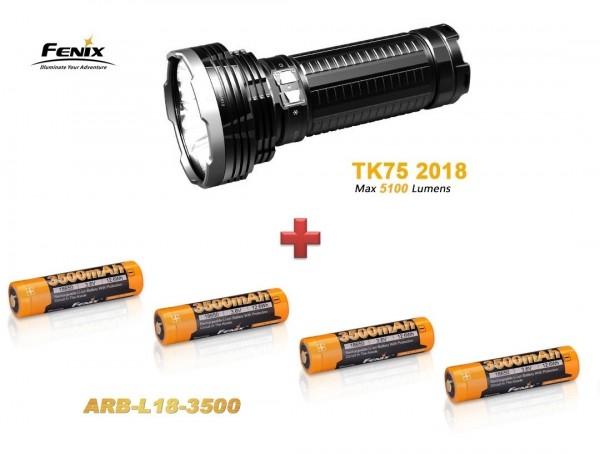 Fenix TK75 (2018) LED Taschenlampe + 4 Fenix ARB - L-18 3500 mAH Akkus