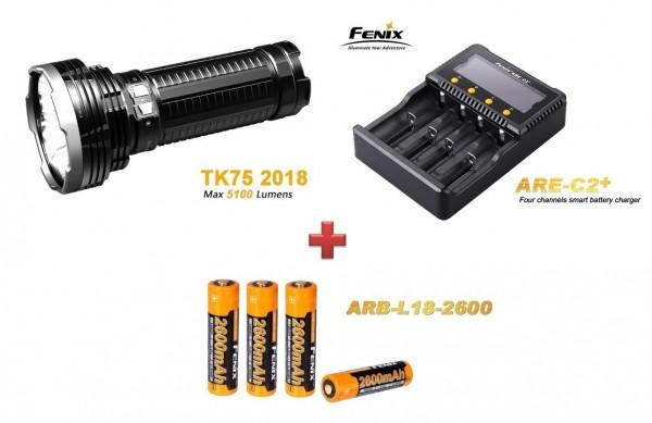 Fenix TK75 (2018) LED Taschenlampe + 4 Fenix ARB-L-18 2600 mAH Akkus + Fenix ARE A4 + Ladegerät