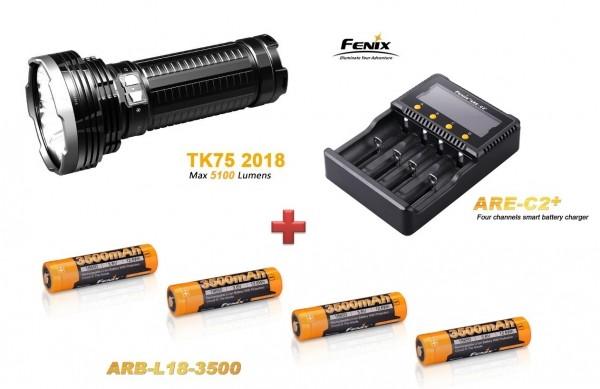 Fenix TK75 (2018) LED Taschenlampe + 4 Fenix ARB-L-18 3500 mAH Akkus + Fenix ARE-A4 Ladegerät