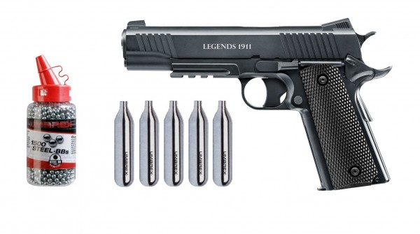 Legends 1911 CO2 Pistole Kal. 4,5 mm + 5 CO2 Kapseln + 1500 Umarex BB`s